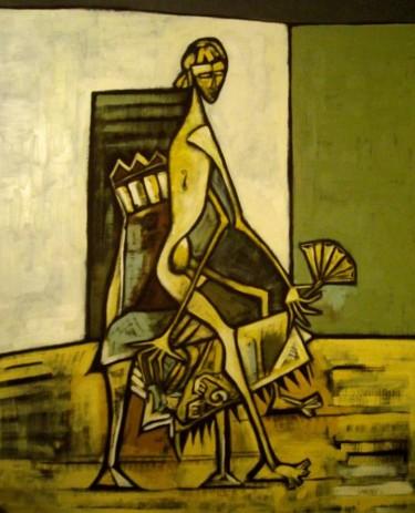 femme à l'éventail jaune
